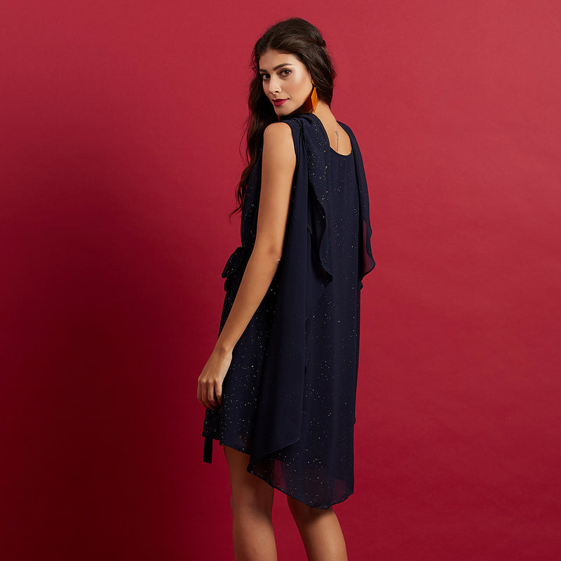 Navy Cape Dress ( shimmer )