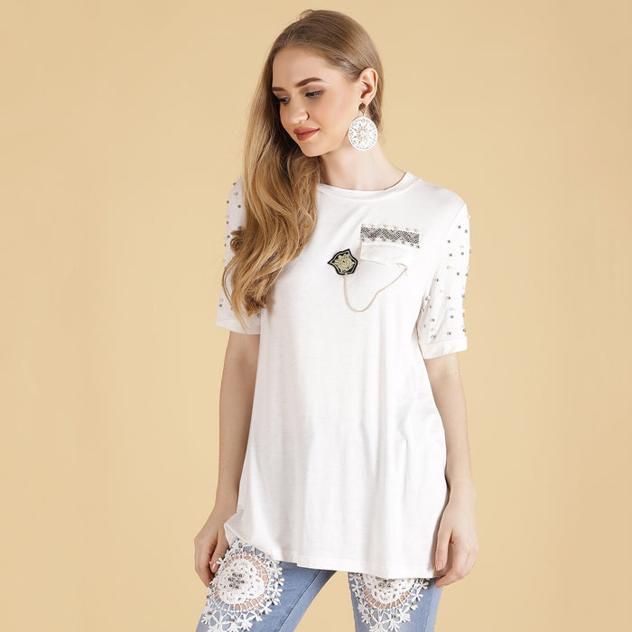 White Tee ( embellished )