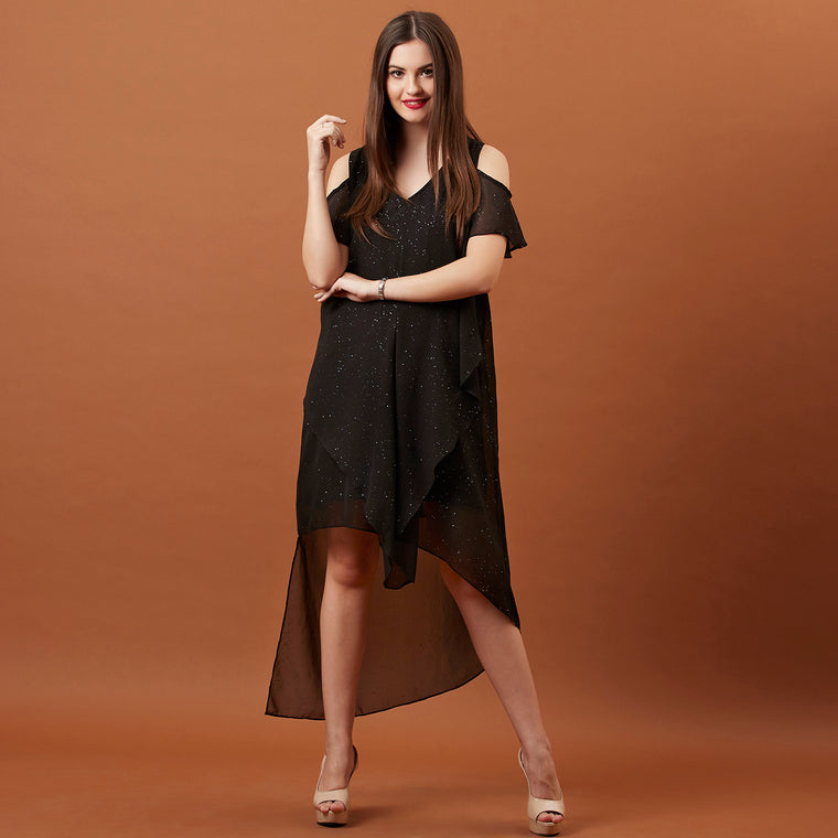 Black Shimmer dress ( cold shoulder )