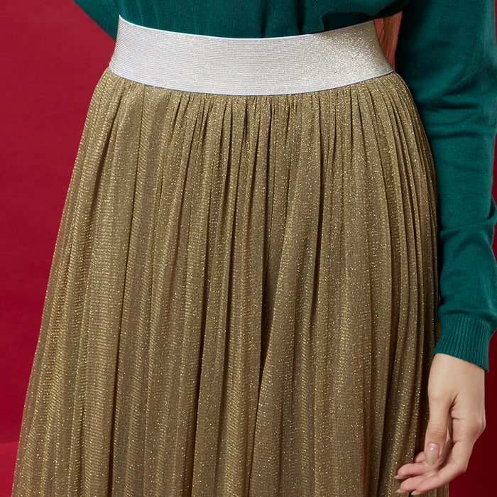 Golden Shimmer Skirt ( pleats )