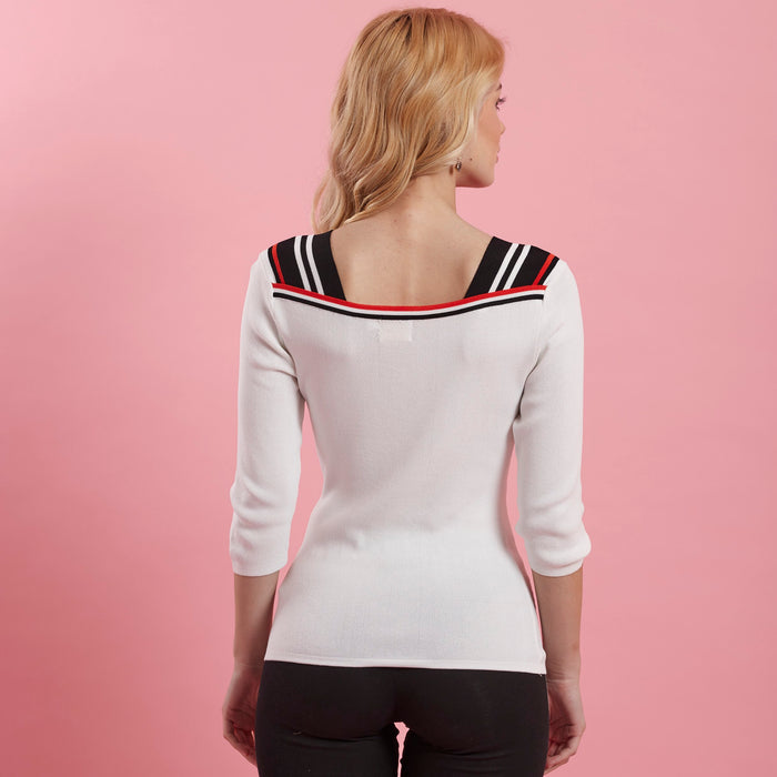 White Top ( stripe detail on shoulder )