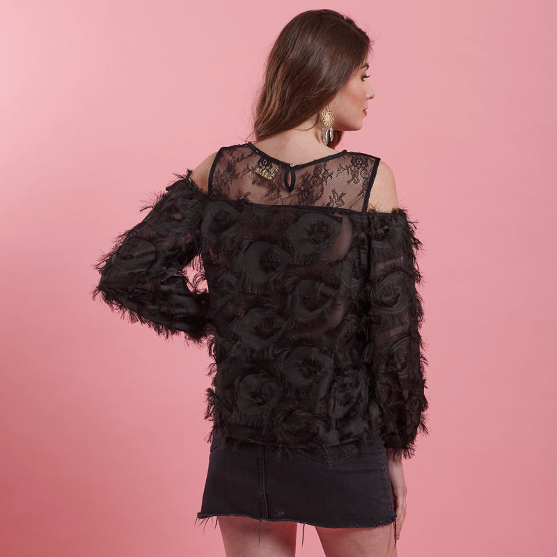 Black Top ( feathers & Lace cold shoulder )