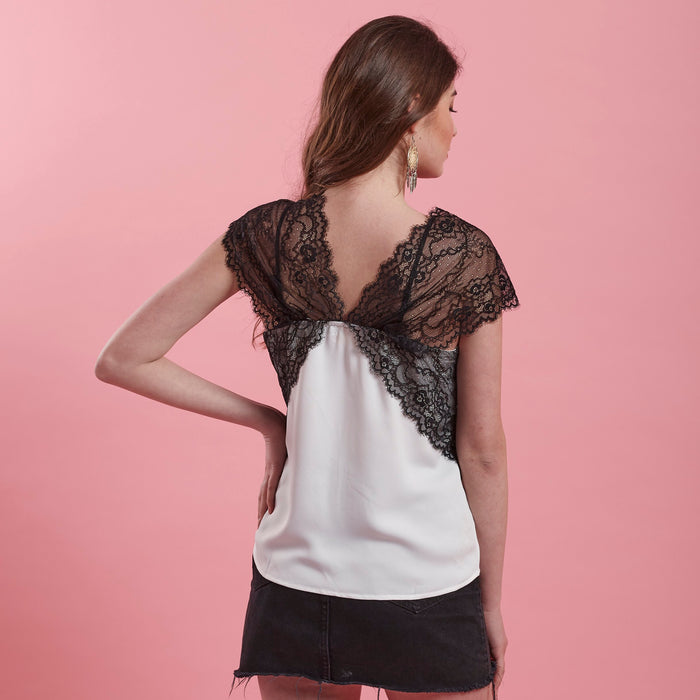 Black & White Lace Top