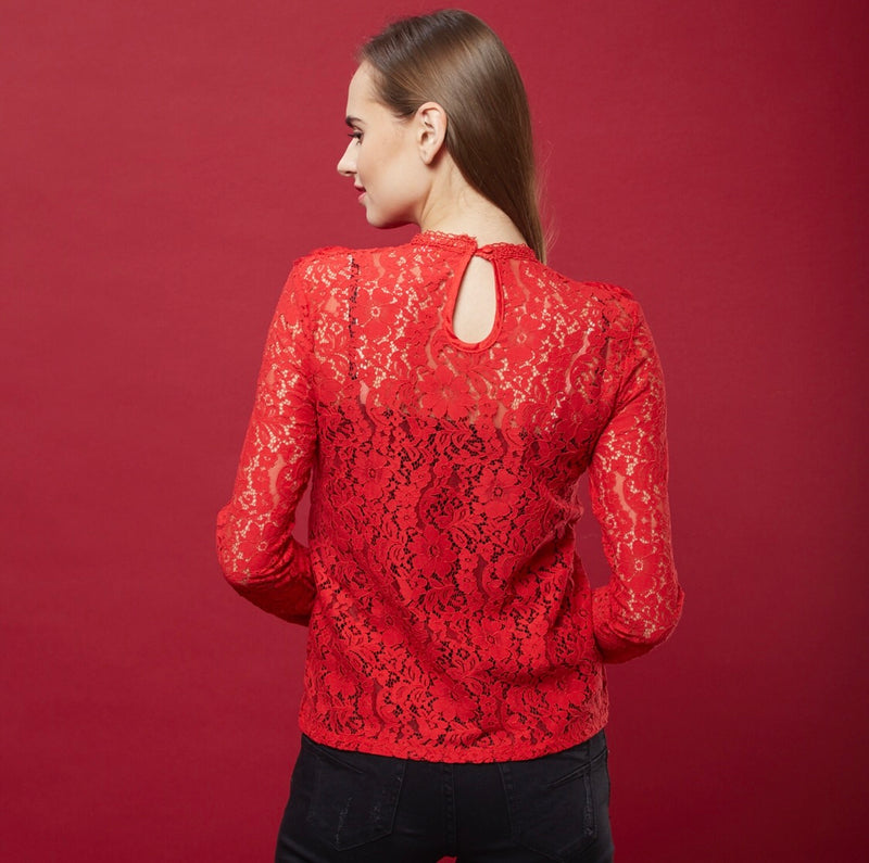 Red Lace Top ( ruffles )