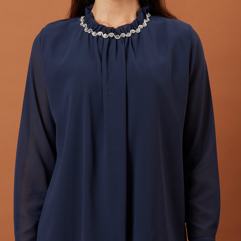 Navy Top ( glitter collar)