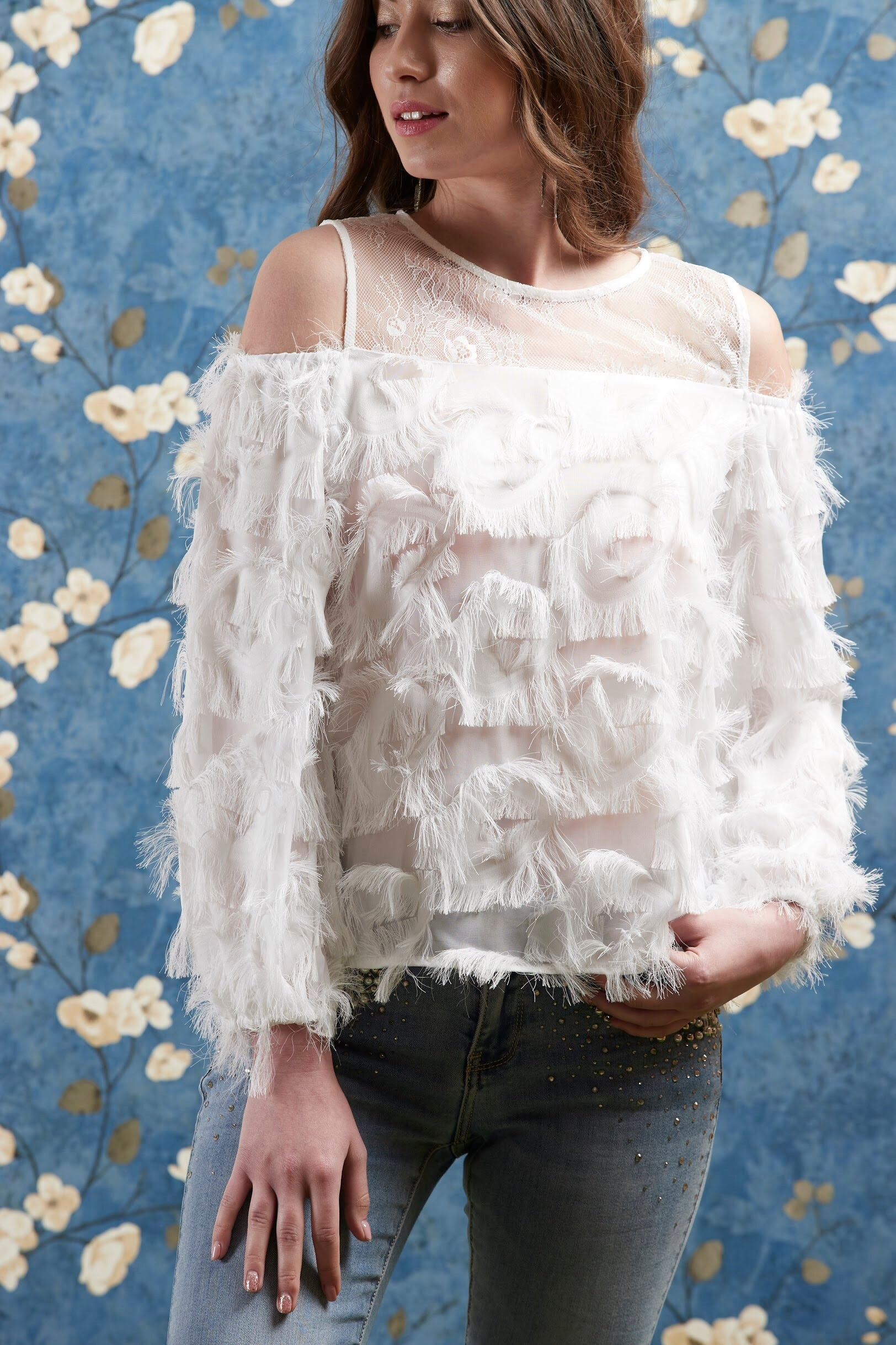 4dae05e72c71e8 White Feather Top ( Lace Cold Shoulder ) – bardotstore