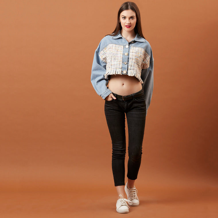 Denim & Tweed Crop Shirt/ jacket