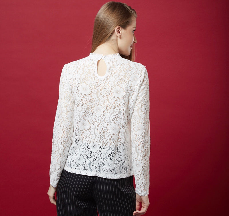 White Lace Top ( ruffles )