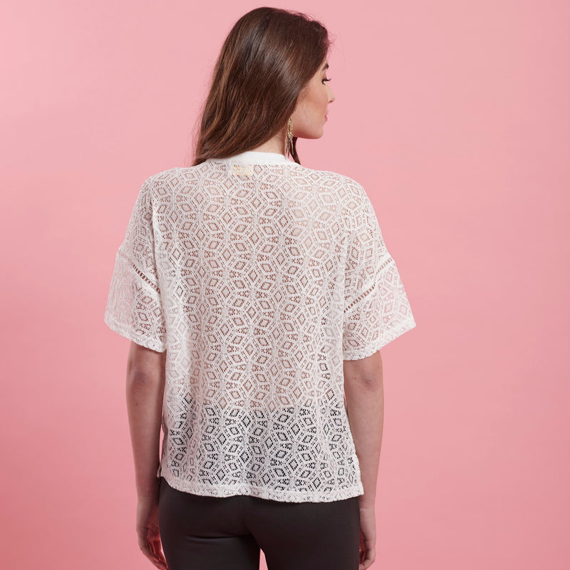 White Lace Top ( embellished )