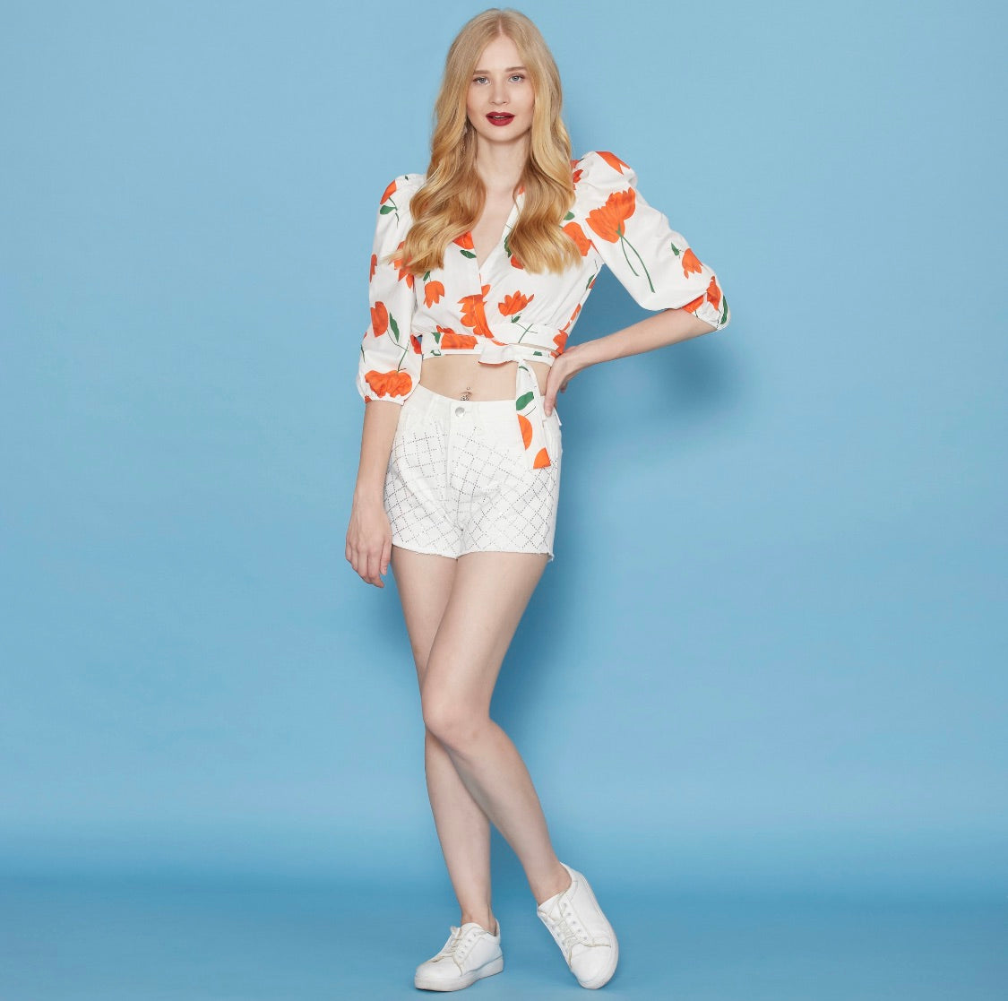 White And Orange Floral Top ( wrap & bow )