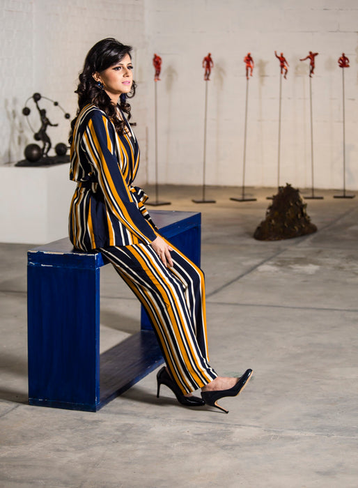 Striped Pantsuit- pants (navy - mustard - white )