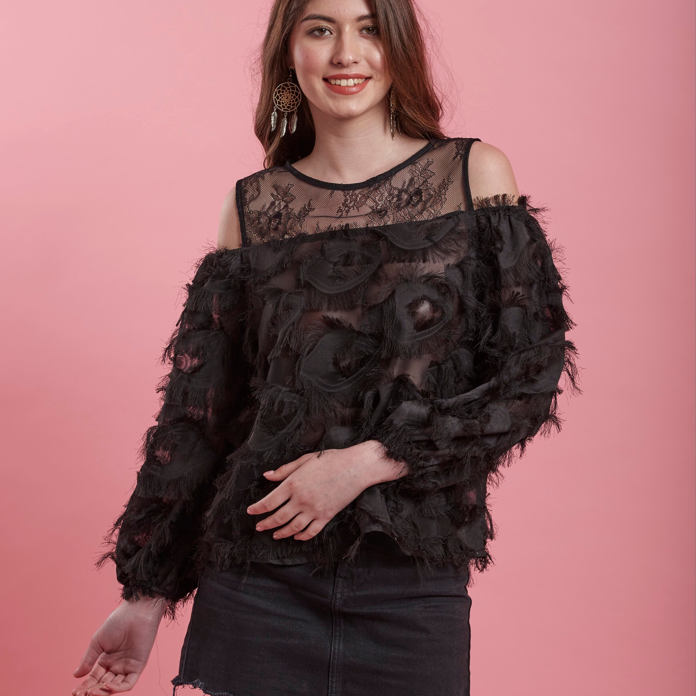 e357b26f85042a Black Top ( feathers   Lace cold shoulder ) – bardotstore