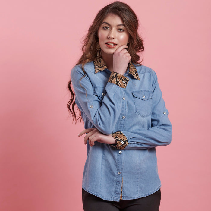 Denim Shirt ( leopard print detail )