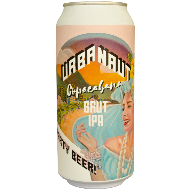 One large 440ml can of Urbanaut Copacabana Brut IPA beer.