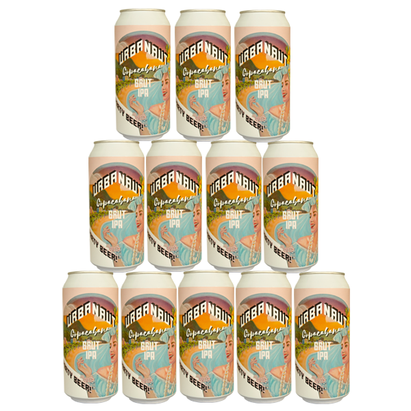 Twelve large 440ml cans of Urbanaut Copacabana Brut IPA beer.