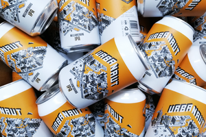 Many cans of Urbanaut Williamsburg IPA beer