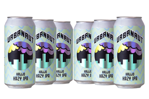 Six large 440ml cans of Urbanaut Kallio Hazy IPA beer