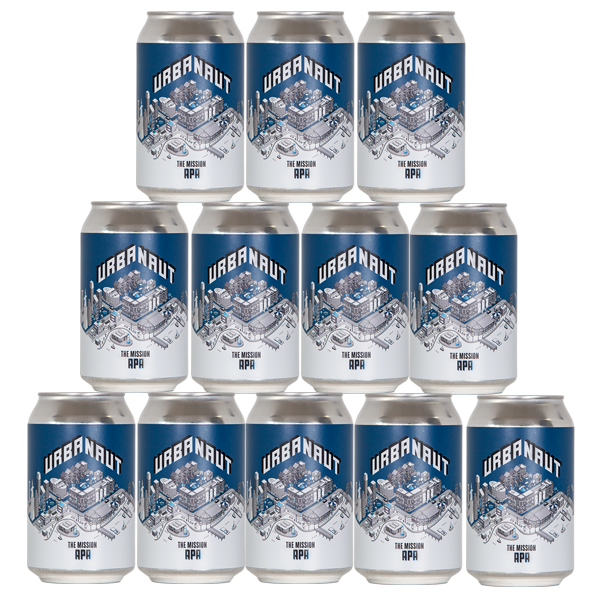 Twelve cans of Urbanaut beer