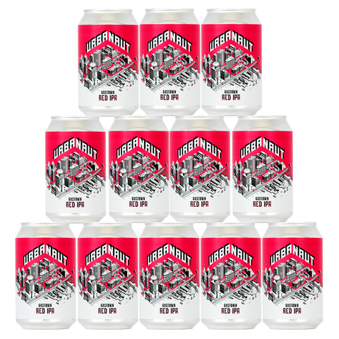 Twelve cans of Urbanaut Red IPA beer