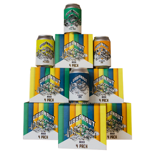 Cardboard box of four beer cans from Urbanaut Brewing Co arranged in a tower formation