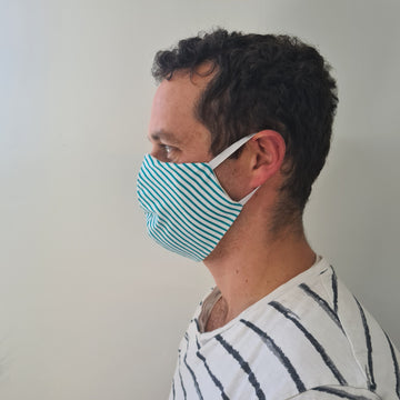 Green Stripe Reusable Face Mask | Made in NZ