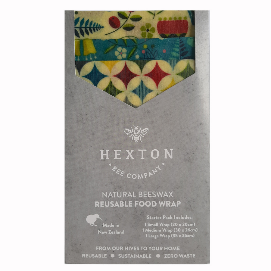 Kiwiana Fantail - Beeswax Food Wrap Starter Pack