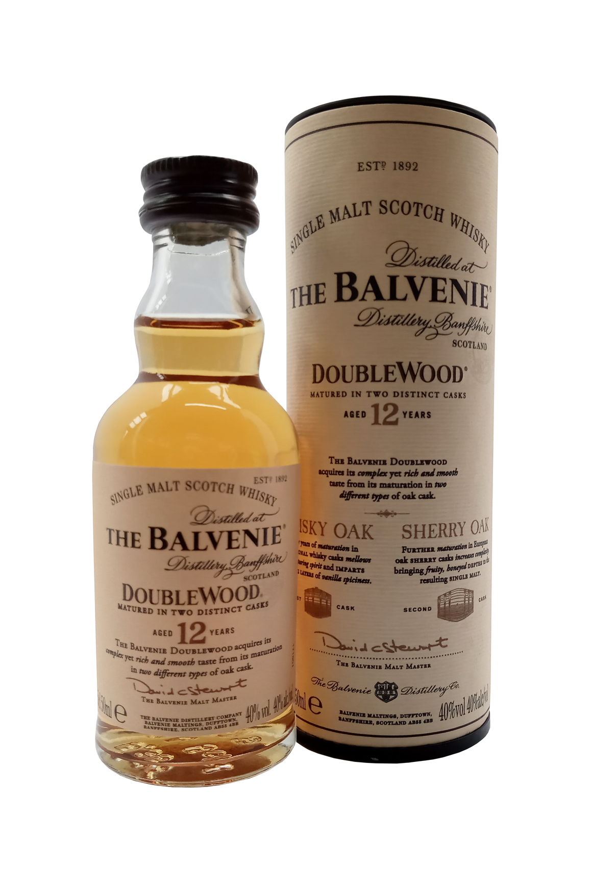Balvenie Aged 12 Years Old Double Wood Single Malt miniature whiskey. 5cl 40% vol.