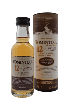 Tomintoul Speyside Oloroso Sherry Cask Aged 12 Years whisky miniature. 5cl 40% vol
