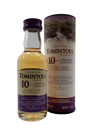 Tomintoul Speyside Glenlivet Single Malt Aged 10 Years whisky miniature. 5cl 40% vol