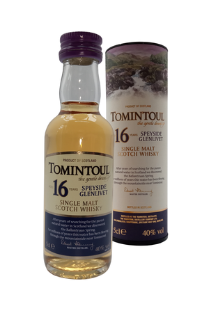 Tomintoul Speyside Glenlivet Single Malt Aged 16 Years whisky miniature. 5cl 40% vol