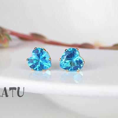 (5 Colors) Hot Heart Earrings - 8mm Crystal Stud Earrings Geometric Rhinestone Minimalist