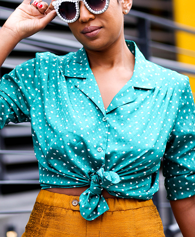 Green Polka-Dot L/S Blouse