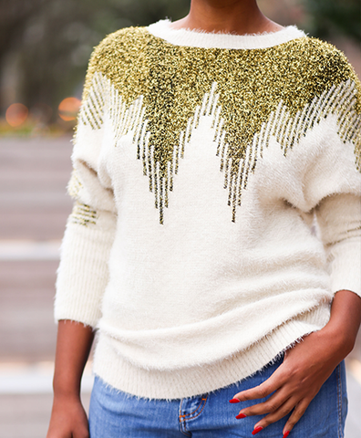 Life of the Party L/S Gold & Cream Sweater