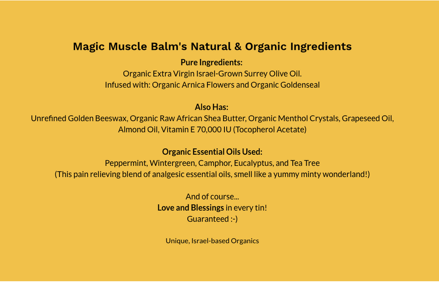 Magic Muscle Balm - 113ml (4oz) - Salves of Jerusalem - Organic skincare and natural creams using organic essential oils, Made In Israel
