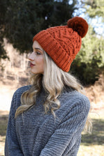 Cable Pom Beanie Hat Thermal Lining