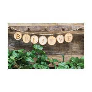 Believe Wood Cut Garland