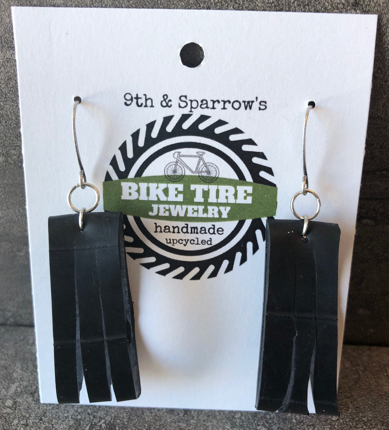 Upcycled Bike Tire Earrings