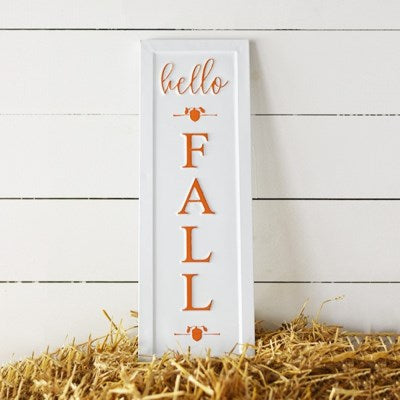 "21"" Tin Hello Fall Sign"
