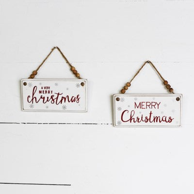 Wood Red Glitter Christmas Sign