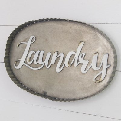Oval Tin Laundry Sign