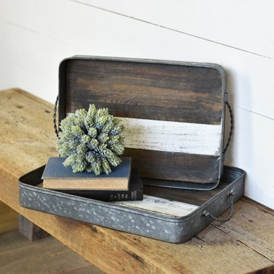 Tin Wood Tray