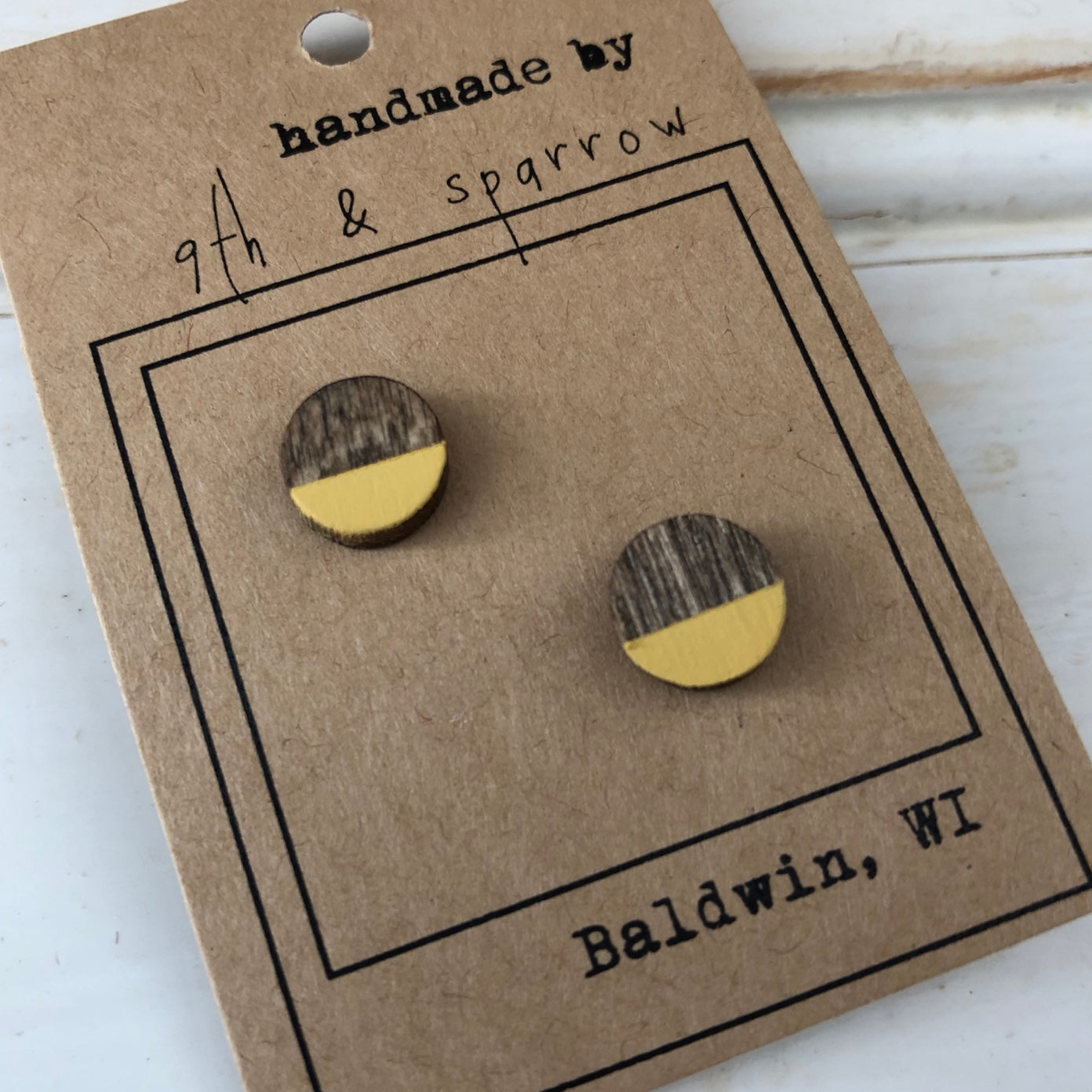 Wood Stud Earrings. Variety of Shapes & Colors