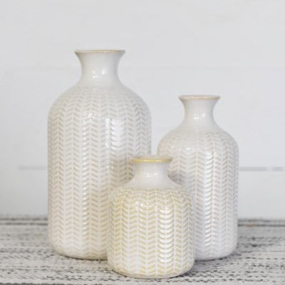 CERAMIC CHEVRON VASES