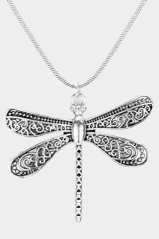 Patterned Antique Metal Dragonfly Pendant Necklace