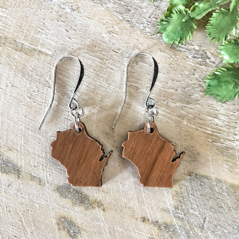 Wisconsin State Wood Earring