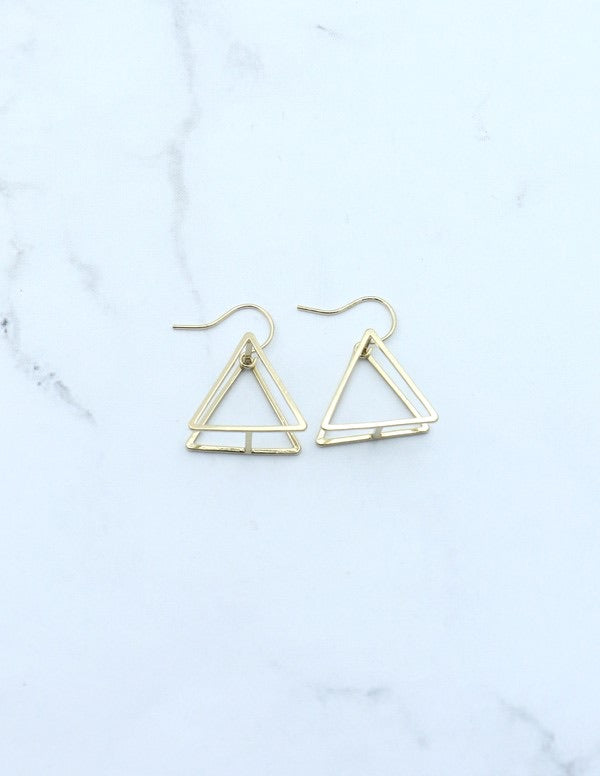 3 D Triangle Dangle Earring