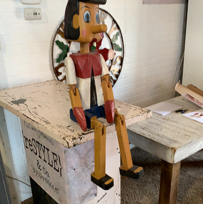 Hand carved Pinocchio 36""