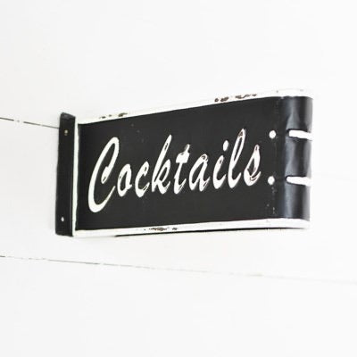 Folded Tin Cocktail Sign