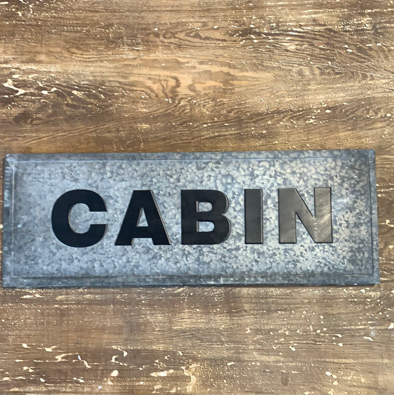 Metal cabin sign