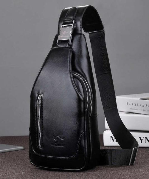 VoltageBags Men's casual Shoulder leather Crossbody Bags travel Messenger bag USB Interface